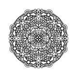 Contour, monochrome Mandala. ethnic, religious design element. Anti-paint for adults Royalty Free Stock Photos