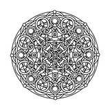 Contour, monochrome Mandala. ethnic, religious design element Stock Image