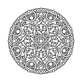 Contour, monochrome Mandala. ethnic, religious design element Stock Photography