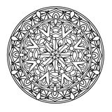 Contour, monochrome Mandala. ethnic, religious design element with a circular pattern. Anti-paint for adults Royalty Free Stock Images