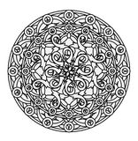 Contour, monochrome Mandala. ethnic, religious design element with a circular pattern. Anti-paint for adults Royalty Free Stock Image
