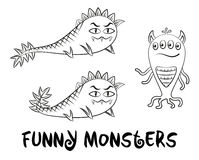 Contour Monsters Set Royalty Free Stock Photos