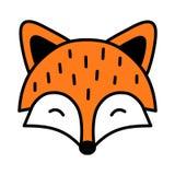 Contour noir d'isolement par renard mignon de sommeil illustration libre de droits