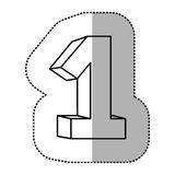 Contour number one icon. Illustraction design image Stock Photo