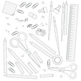 Contour objects stationery Royalty Free Stock Photo