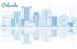 Contour Orlando Skyline avec les bâtiments bleus et les réflexions Image stock