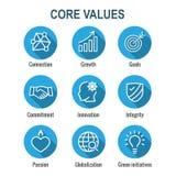 Contour ou ligne icône de valeurs de noyau donnant l'intégrité et le but illustration de vecteur