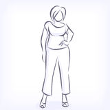 Contour of overweight elegant woman Royalty Free Stock Image