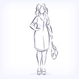 Contour of overweight elegant woman Royalty Free Stock Images