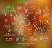 Contour party icons plus background Royalty Free Stock Images