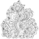 Contour pattern. Black and white illustration. Stock Photo