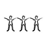 contour people with hands up icon Royalty Free Stock Photos