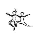 Contour people practicing dancing icon. Illustraction design Stock Images