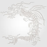 Contour  picture of a flying dragon, dark outline on a white background Royalty Free Stock Image