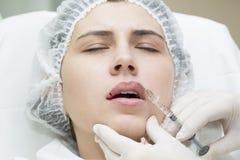 Contour plastic lips Royalty Free Stock Image