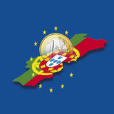 Contour of Portugal with European Union stars and euro coin against blue background, digital composite Vector Illustration