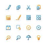 Contour publish icons. Color contour publish icons on the white background Royalty Free Stock Photography