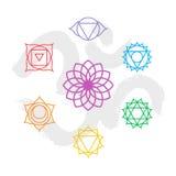 Contour réglé d'icône de chakra de couleur avec le fond de l'OM Images stock