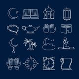 Contour réglé par icônes de l'Islam Photographie stock
