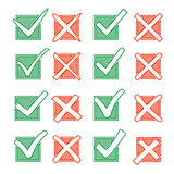 Contour red cross X and green hook V in hatching check box. Yes No icons for highlight selection Stock Photo