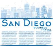 Contour San Diego Skyline avec les bâtiments et l'espace bleus de copie illustration stock