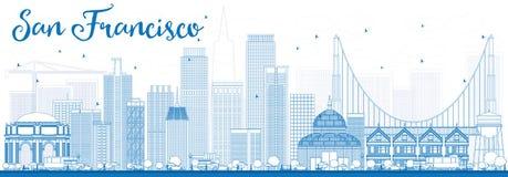Contour San Francisco Skyline avec les bâtiments bleus Photographie stock libre de droits