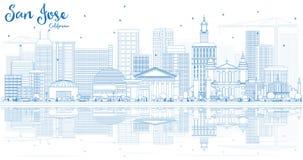 Contour San Jose California Skyline avec les bâtiments bleus et le Refl illustration de vecteur