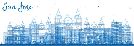 Contour San Jose Costa Rica Skyline avec les bâtiments bleus illustration stock