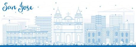 Contour San Jose Skyline avec les bâtiments bleus illustration libre de droits