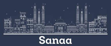 Contour Sanaa Yemen City Skyline avec les b?timents blancs illustration libre de droits