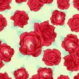 Contour sans couture de modèle de rose de rouge Images libres de droits