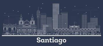 Contour Santiago Chile City Skyline avec les bâtiments blancs illustration libre de droits