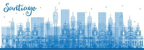 Contour Santiago Chile Skyline avec les bâtiments bleus illustration stock