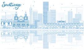 Contour Santiago Chile Skyline avec les bâtiments bleus et le Reflectio illustration libre de droits