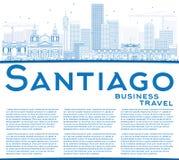 Contour Santiago Chile Skyline avec les bâtiments et la copie bleus Spac illustration de vecteur