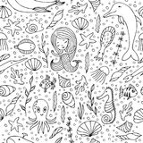 Contour seamless pattern. Black contours on white background. Marine animals and fish, mermaids and seashells hand-drawn Royalty Free Stock Image