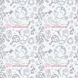 Contour seamless pattern illustration_6_for the design of various objects of human life, theme for world environment day stock illustration
