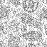 Contour Seamless pattern with marine life stock photography