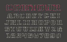 Contour serif font and numerals in the style of hand-drawn graph Royalty Free Stock Photography