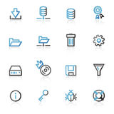 Contour server web icons. Vector web icons, blue and gray contour series
