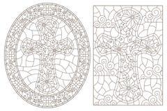 Contour set with  Christian cross and flowers ,black contour on white background. Set contour illustrations with Christian cross and flowers ,black contour on stock illustration