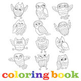 Contour set of funny cartoon owls, contour image on a white background, the coloring book Royalty Free Stock Photography