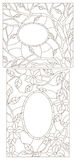 Contour set illustration with stained glass in an abstract framework with flowers, leaves and branches. Set contour illustrations of stained glass in an abstract stock illustration