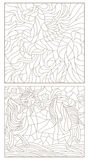 Contour set of illustration of stained glass with abstract horses Stock Photos