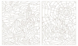 Contour set of illustration of stained glass of landscapes with ancient castles Stock Photography