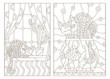 Contour set illustration in stained glass style window with curtains and a cactus and a cat on the windowsill. Set contour illustration in stained glass style royalty free illustration