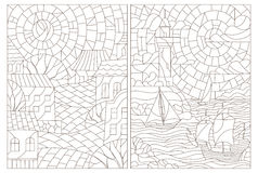 Contour set illustration with stained glass Windows with landscapes, town and seascapes. Set contour illustrations of the stained glass Windows with landscapes royalty free illustration