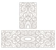 Contour set with  illustrations with abstract symmetrical  flowers, dark contours on white background. Set of contour stained glass illustrations with abstract Royalty Free Stock Photos