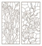 Contour set with  illustrations with bouquets and flowers, lilies and irises, vertically oriented, dark outlines on white backgrou. Set of contour stained glass Royalty Free Stock Image