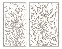 Contour set with illustrations with bouquets of flowers, tulips and flowers bells, dark outlines on white background. Set of contour stained glass illustrations Royalty Free Stock Photography